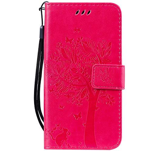 Hauw En Relieve Arbol Gato Mariposa Patrón Caja del Teléfono para Xiaomi Redmi Go,Rosa Rojo