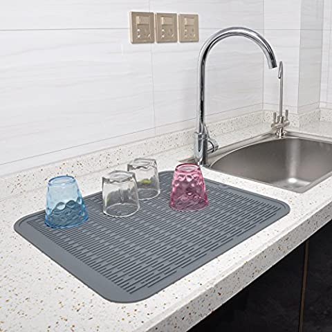 Silikon Abtropfmatte–100% umweltfreundlich Küche Abtropfgestell Matte für Wein Glas, Baby Flasche, Tasse, antibakteriell/Hitzebeständig Untersetzer/