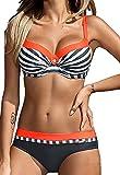 Aitos Femmes Sexy Maillot de Bain 2 Pièces Bikini Sets Push Up Rembourré Deux Pièces Beachwear Swimwear Plage Orange Rayures M