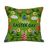 JMETRIC_Kissenbezug Osterei Kissenbezug Kaninchen Gedruckt Umweltfreundliche Leinen Baumwoll Kissenbezug(C)