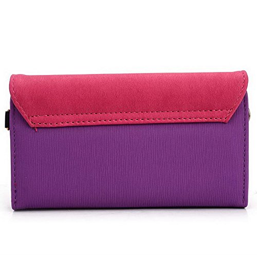 Kroo Pochette Portefeuille Link Series Mobile pour Lava Iris Alfa/X8 Multicolore - Magenta and Grey Multicolore - Purple and Magenta