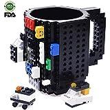 Creativo DIY Lego Mug, Construir sobre ladrillo Taza de café, Juguete de regalo para niños y adultos, Por Kyonne TM (Negro)