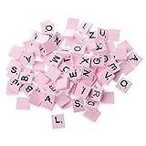 Haorw 100 Stück Scrabble Buchstaben Scrabblefliesen zum Spielen Scrabblesteine Ersatz Fliesen aus Holz für Handwerk Dekoration | Scrabblesersetzer mit Zahlenwerten (rosa)