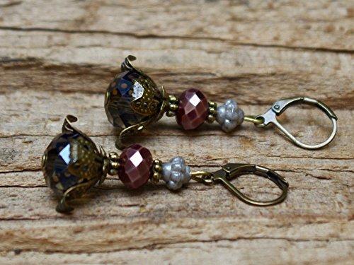 Vintage Ohrringe mit Glasperlen - grau, braun & bronze - 3
