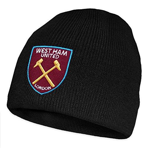 West Ham United FC - Beanie Strickmütze - Offizielles Merchandise - Schwarz Beanie - Einheitsgröße (Erwachsene/Jugendliche)