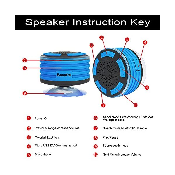 BassPal Shower Speaker, IPX7 Waterproof Portable Wireless Bluetooth 4.0 Speakers with Super Bass and HD Sound, Perfect Speaker for Beach, Pool, Kitchen & Home 3