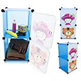 Kinderzimmer Steckschrank - Set aus 2 Modulen, Blau - DIY Steckregal System Regalschrank - Grinscard
