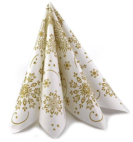 Deko Angels 100 Stück Servietten Snowflakes WEIß Gold 40 x 40 cm (0,35€/Stück) stoffähnlich mit Schneeflocken Tischdekoration Weichnachten Advent Dinner festlich zum Falten von FINEMARK