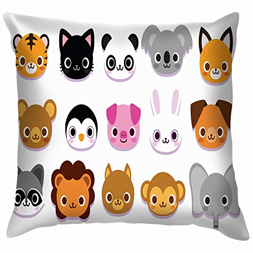 beautiful& Set Cute Cartoon Animals Isolated Wildlife Animal Throw Pillows Covers Accent Home Sofa Cushion Cover Pillowcase Gift Decorative 18X18 Inch (Halloween Cartoons Chipmunks)