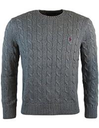 Ralph Lauren Polo Hommes Tricot Torsadé Pull Col Rond Noir, Marine, Gris, Blanc, Gris Clair 2015/16 Stock UK