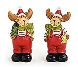 2x Deko Figur Rentier im Set je 11 cm groß, Polystein rot grün braun, lustige Dekofigur Elch Rentierfigur stehend Winterdeko Weihnachtsdeko Winterfiguren Elchfiguren