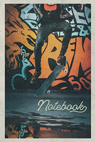 Notebook: Skateboarding and graffiti Beautiful Composition Book Journal Diary for Men, Women, Teen & Kids Vintage Retro Design skateboard tricks -