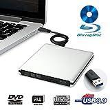 LeaningTech BD-1 Super-Blu-Ray-Driver, External DVD CD Blu-Ray Disc Scheibe Player Leser Schreiber Brenner und SuperDrive für Mac,Windows, Vista Gerät, USB 3.0, Aluminumlegierung Schutzhülle (Silber)