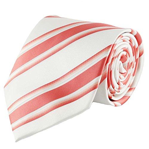 Preisvergleich Produktbild Designer Krawatte aus Seide in weiß creme mit korall roten Streifen