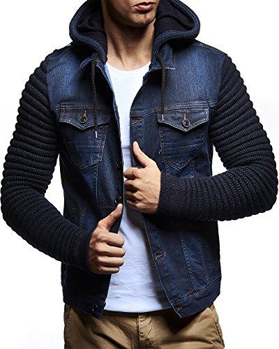 LEIF NELSON Herren Jacke Hoodie Strickjacke Kapuzenpullover Vintage Jeansjacke Sweatjacke Strick Jeans LN5240 Dunkel Blau