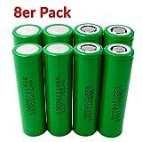 8X LG INR18650-MJ1 Akku 3500mAh 3,7v Lithium-Ionen 18650 Batterie - Ideal für Sub-Ohm Dampfer E-Zigarette Flat Top Flachpol, Menge: 8 Stück