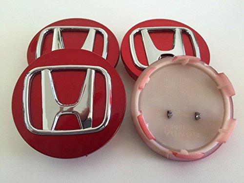 4 x Honda 70 mm Cache-moyeu Pour Jante en Alliage Couverture de Centre Hub Enjoliveurs Chapeau de Roue rouge chromé ACCORD CIVIC