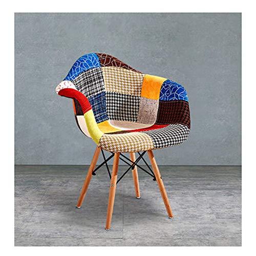Stuhl Home Massivholz schlicht modern Mode dänische Stoff Blumen Stoff Freizeit Büro Sofa Stuhl 61 × 62 × 80 cm, Material, 3, Large