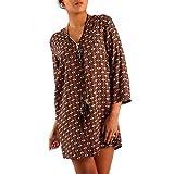 Damen Hippie Minikleid Oversize Tunika Long-Shirt Zipper V-Ausschnitt Strandtunika, Farbe:Braun/Rot;Größe:S/M