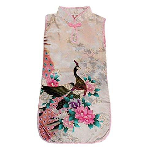 BOBORA Child Kids Girl Flower & Peacock Sleeveless Chinese Party Dress Qipao Cheongsam 5Colors