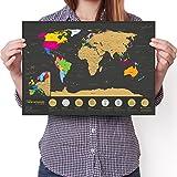 Mappa mondiale da grattare 7 Meraviglie - Edizione da viaggio A3 - Poster personalizzato Travel Tracker - Ricorda e condividi le tue avventure (Nero | 29.7 x 42 cm)