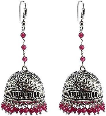 Rosa cuarzo pendientes, templo joyería india plata jhumkas-large Jhumki gitana tribal joyería por silvesto India pg-28707