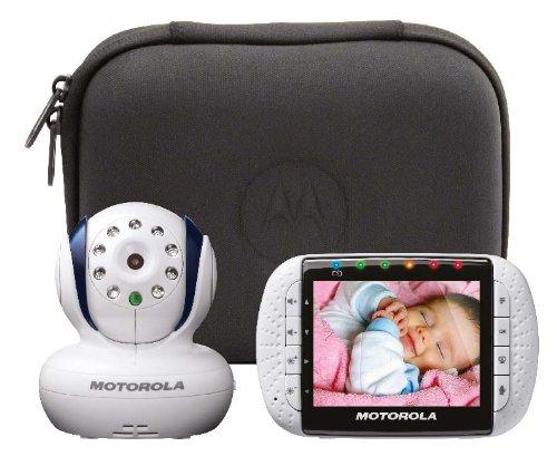 Motorola MBP34T - Vigilabebés digital (con pantalla LCD en color de 3,5'' (8,9 cm), cámara en el equipo de transmisión, incluye funda de transporte)