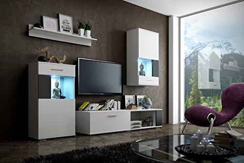 DEBBY Moderne Wohnwand, Exklusive Mediamöbel, TV-Schrank, Neue Garnitur, Große Farbauswahl (RGB LED-Beleuchtung Verfügbar) (Weiß MAT base / Weiß MAT front + schwarzen Einsätzen, RGB fernbedienung)