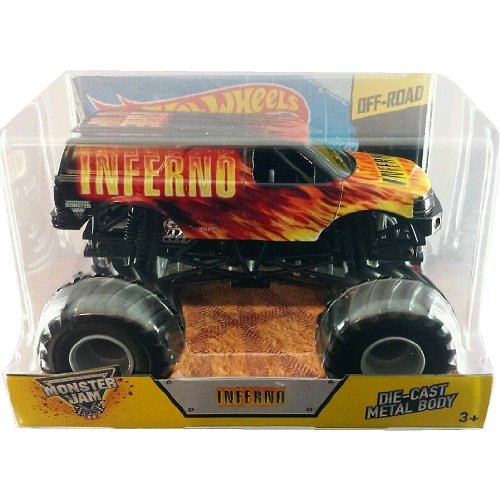 Hot Wheels Year 2014 Monster Jam 1:24 Scale Die Cast Official Monster Truck - INFERNO (CCB19) with Monster Tires, Working Suspension and 4 Wheel Steering (Dimension - 7 L x 5-1/2 W x 4-1/2 H) by Monster Jam (1 24 Scale Monster Jam-trucks)