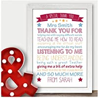Personalised Teacher Gifts Thank You School End Of Term Assistant Nursery Child - Thank You Gifts for Teachers, Teaching Assistants, TA, Nursery Teachers - ANY RECIPIENT from ANY NAME - A5, A4, A3 Prints and Frames - 18mm Wooden Blocks - FREE Personalisation