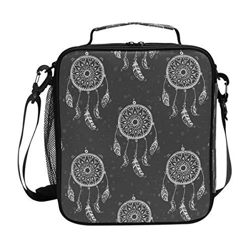 JSTEL Bolsa de almuerzo atrapasueños, bolsa de almuerzo, contenedor de alimentos Gourmet Bento Coole Tote Cooler bolsa caliente para viaje, picnic, escuela, oficina