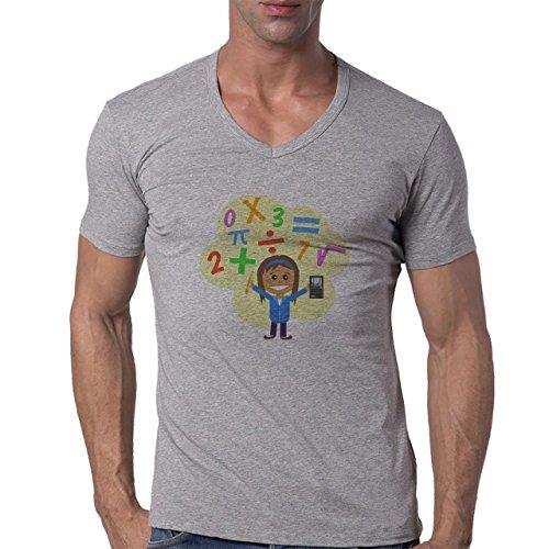 Number Math Symbol Calculus Equations Person Happy Herren V-Neck T-Shirt Grau