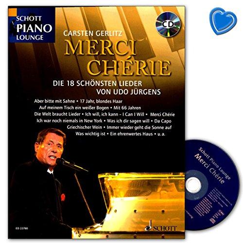 Merci Chérie - Die 18 schönsten Lieder von Udo Jürgens - Notenbuch mit CD und bunter herzförmiger Notenklammer - Schott Music ED22780 9783795712198