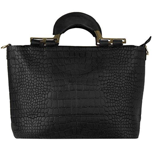 VanGoddy , Damen Satchel-Tasche Mehrfarbig Crocodile Sepia Crocodile Black