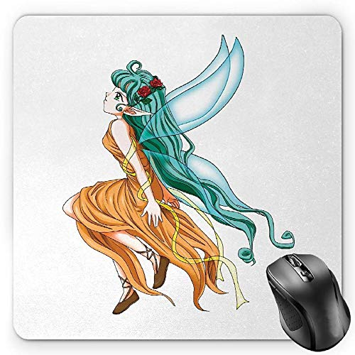 BGLKCS Anime Mauspads Mouse Pad, Pixie Girl Caricature with a Long Green Hair and Wings Fantasy Elf, Standard Size Rectangle Non-Slip Rubber Mousepad, Ginger Sea Green and Aqua -