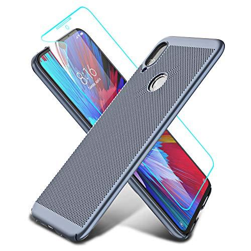 LeYi Funda Xiaomi Redmi Note 7 con HD Protector de Pantalla, Carcasa Rigida PC Ultrafina Silicona Case TPU Gel Ultra Slim Bumper Shockproof Antigolpes Cover para Redmi Note 7, blue