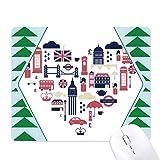 Heart London Bridge UK Big Ben - Tappetino per mouse in gomma con albero di pino verde