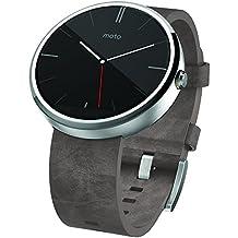 """Motorola Moto 360 - Smartwatch Android (pantalla 1.56"""", 4 GB, 512 MB RAM, correa de cuero, batería de 1 día), plateado"""