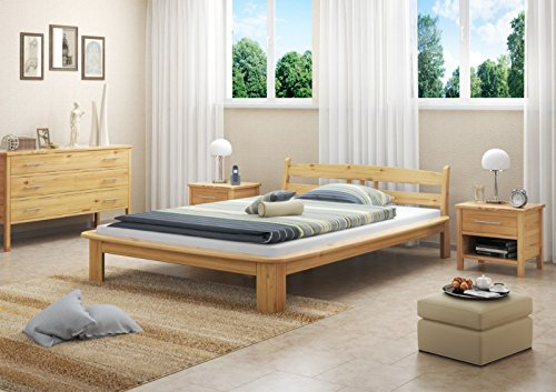 Erst-Holz® Futonbett 140×200 Holzbett Kiefer Massivholzbetten Doppelbett Jugendbett Rollrost 60.60-14