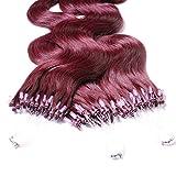 Hair2Heart 25 x 1g Microring Loop Extension Capelli Veri - 60cm - Ondulato, Colore #99j Vino Rosso