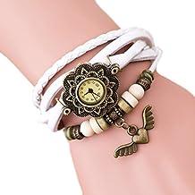 Demarkt Demarkt Retro Girls mujeres del reloj pulsera del abrigo del ala del ángel colgante de cuarzo reloj de pulsera (Blanco)