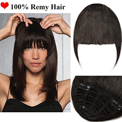 Clip in Pony 100% Remy Echthaar Fringe Bangs One Piece Haarteil In Front Hair Extension Verlängerung natürliche glatt Naturschwarz #1B (Hair Perücken Extensions)