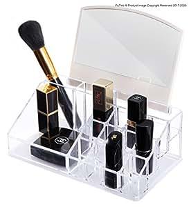 putwo rangement maquillage avec miroir 10 compartiment pr sentoir de rouge l vres organisateur. Black Bedroom Furniture Sets. Home Design Ideas