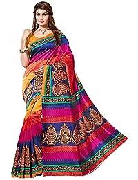 Kanchan Women Wedding Cotton Silk Printed Saree For Ladies & Girls (Kutchchhi Print_Multi-Coloured)
