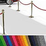 etm Hochwertiger Messeteppich Meterware   Rollteppich VIP Eventteppich, Hollywood Läufer, Hochzeitsteppich   18 Farben in 23 Größen   Weiß - 200x500 cm