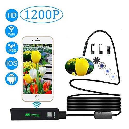 Preisvergleich Produktbild WiFi Inspektionskamera, AIZBO Wireless 8 LED USB Endoskop Megapixel 1200P/720P HD Endoskop Kamera für Samsung iPhone 7/7plus/6/6S, iPad Laptop Android/iOS/Windows(Schwarz 5M/16.5ft)