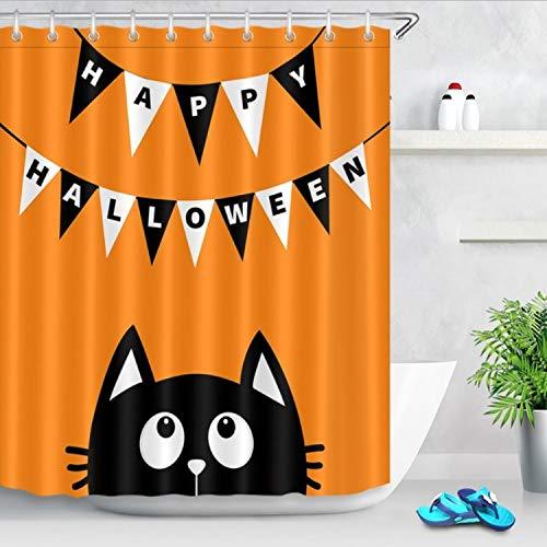 Chenghao's shop Duschvorhang Schwarze Katze Gesicht Weiß Hängende Flagge Orange Lustige Halloween wasserdichte Bad Stoff Für Kinder Kunst Badewanne Dekor 200 (B) X 200 (H) cm
