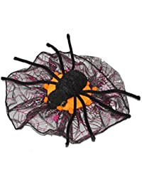 Mini Spider Web Fascinator Hat & Clip Halloween Accessory Fancy Dress[Orange]