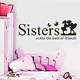 Prevently Wandaufkleber Ballett-Mädchen-Springen Schmetterlinge Englischer Alphabetdruck Aufkleber Schwestern PVC Wand Aufkleber Home Decor DIY Kunst (Als Bild)