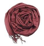 Beautifully Soft Pashmina & Silk Mix Ladies Evening Scarf Wrap Cranberry